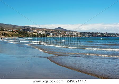 Sandy Beach In Playa Del Ingles, Gran Canaria, Canary Islands, View Of The Sea, Hotels, Beach, Selec