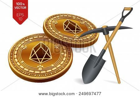 Eos Mining Concept. 3d Isometric Physical Bit Coin With Pickaxe And Shovel. Digital Currency. Crypto