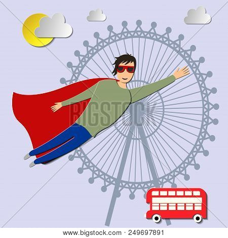 Book Style Panel Superhero Tearing Shirt And Wearing Costume Vector Poster Illustration