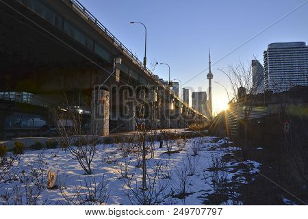 Traffic In Downtown Toronto With Flyover Bridges