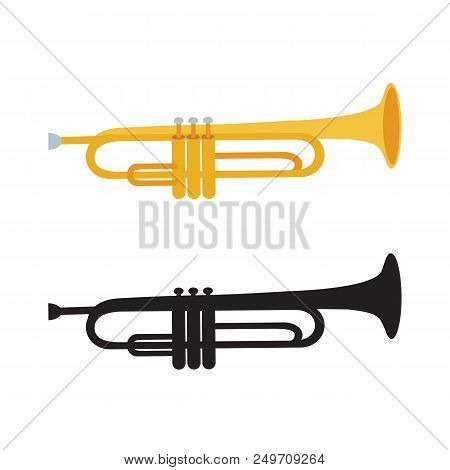 Golden Trumpet And Black Trumpet Silhouette Isolated On White Background. Vector Illustration. Wind