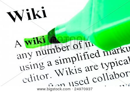 Definition of word wiki marked in green