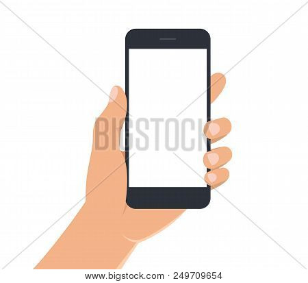 Male Hand Holding Black Smartphone With White Blank Screen. Man Hand With Mobile Phone On White Back