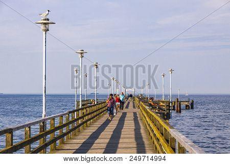 Ahlbeck, Germany - July 5, 2014: Ahlbeck Pier (seebrucke Ahlbeck) - Pleasure Pier Located In Ahlbeck