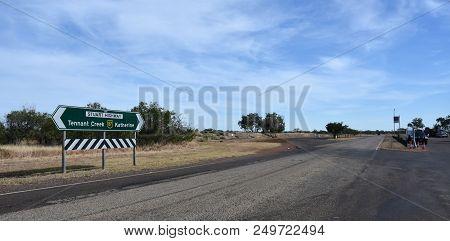 Renner Springs, Australia - Jun 13, 2018. Stuart Highway At Renner Springs. Empty Road To Katherine
