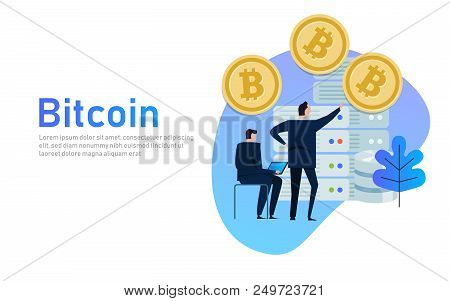 Flat Bitcoin Online Mining Concept Web Infographics Illustration. Man On Computer And Bit Coin Mine