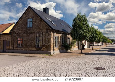 A Quiet Street In A Small Town. Stock Photo.