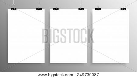 Three Vertical Poster Mockup A4. White Sheets Background. 3 Posters On The Wall. Vector Blank Empty