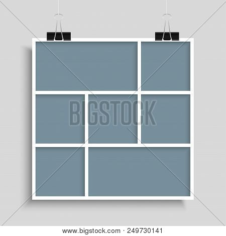 Templates Collage Seven Frames For Photo Or Illustration. Vector Frame For Photos, Pictures, Photo C