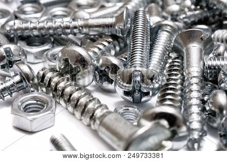 A Macro Of A Big Collection Of Iron Screws, Wood Screws And Bolts