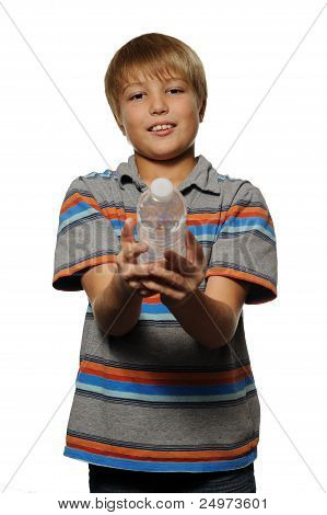 Boy Offering Water to Viewer