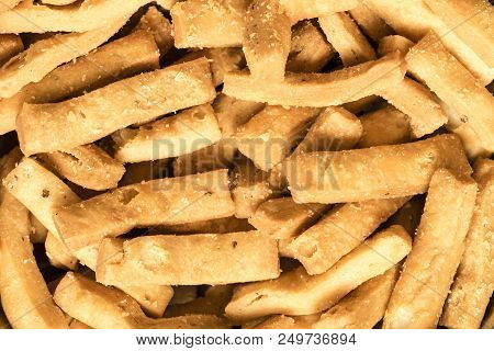 Bakery Savories Or Snack Called Namkeen Made From All-purpose Flour Background
