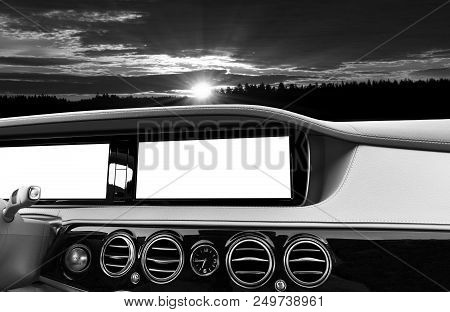 White Screen System Display For Gps Navigation And Multimedia As Automotive Technology In Car. White