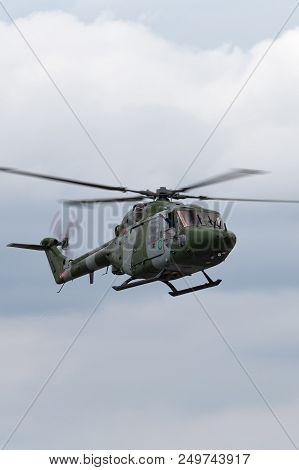 Raf Fairford, Gloucestershire, Uk - July 10, 2014: Westland Lynx Ah.7 Helicopter Xz184 Of The Britis