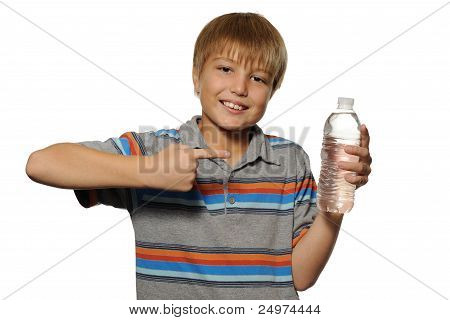 Boy Pointing at Bottle of Water