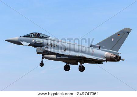 Raf Fairford, Gloucestershire, Uk - July 10, 2014: German Air Force (luftwaffe) Eurofighter Ef-2000