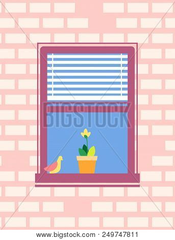 Open Window With Jalousie Blind Or Shutter, Bird Sitting On Window Sill, With Blooming Yellow Flower