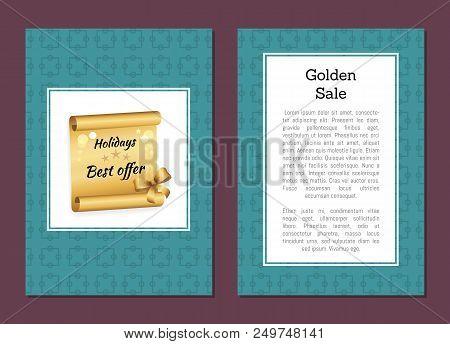 Golden Sale Holiday Best Offer Discount Voucher Promo Advertising Poster With Text, Golden Scroll De