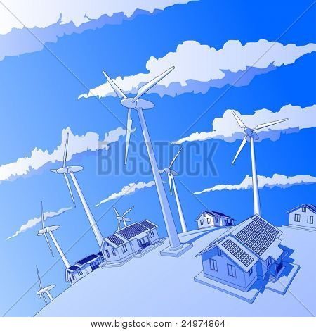 Industry concept: wind-driven generators & houses with solar power systems. Bitmap copy my vector id 9762694