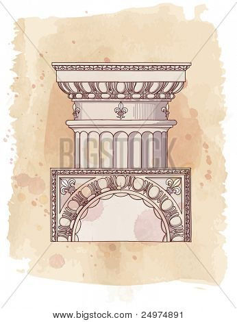 Chapiter- hand draw sketch doric architectural order & vintage watercolor background. Bitmap copy my vector id 87989065