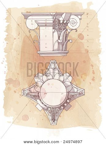 Chapiter- hand draw sketch composite architectural order & vintage watercolor background. Bitmap copy my vector id 87989053