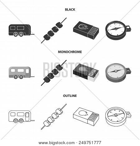 Trailer, Shish Kebab, Matches, Compass. Camping Set Collection Icons In Black, Monochrome, Outline S