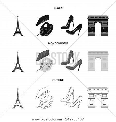 Eiffel Tower, Brush, Hat .france Country Set Collection Icons In Black, Monochrome, Outline Style Ve