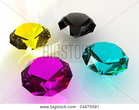 Four Jewels. 3d rendering image.