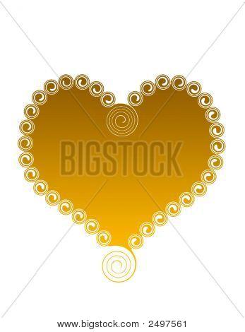 Gold Heart With Swirls