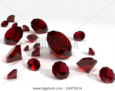 Rubies. 3d rendering image