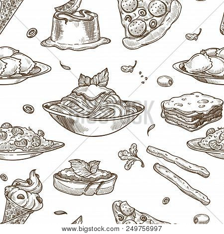 Italian Cuisine Sketch Pattern Background. Vector Seamless Design Of Traditional Italy Food Dishes O
