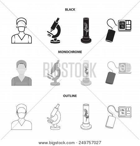 Plant In Vitro, Nurse, Microscope, Tonometer. Medicine Set Collection Icons In Black, Monochrome, Ou