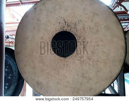 Close Up Of Big Drum At The Temple, Big Gong In Temple, Thailand, Big Bell, Copy Space,
