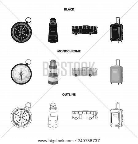 Vacation, Travel, Lighthouse, Compass .rest And Travel Set Collection Icons In Black, Monochrome, Ou