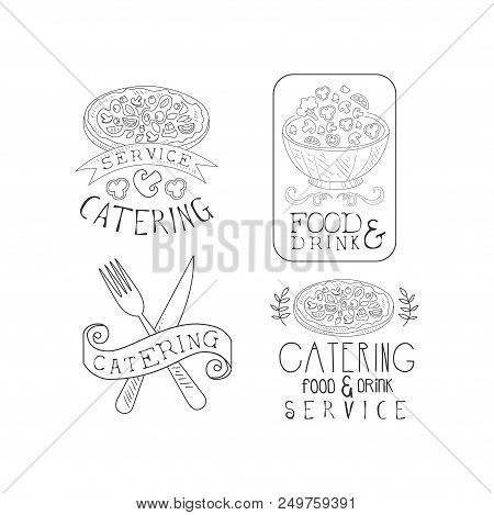 Black And White Emblems For Professional Catering Companies. Food Service Theme. Hand Drawn Logo Tem