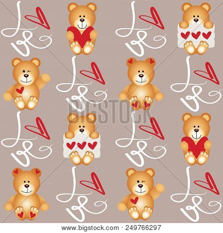 Scalable Vectorial Representing A Teddy Bear Love Seamless, Illustration For Your Design.