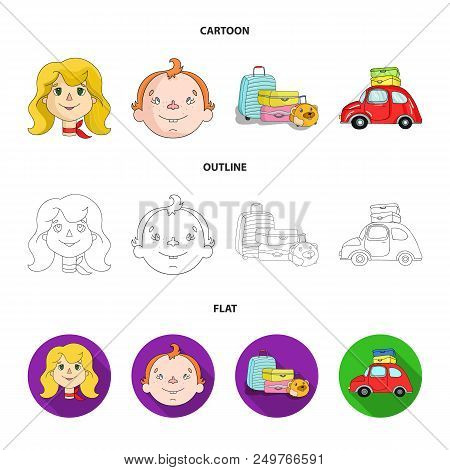 Camping, Woman, Boy, Bag .family Holiday Set Collection Icons In Cartoon, Outline, Flat Style Vector