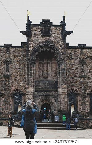Edinburgh, Scotland - April 2018: Front Facade Of Scottish National War Memorial Opposite Royal Pala