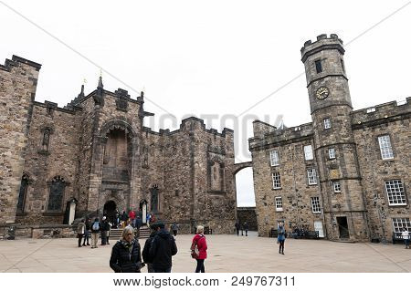 Edinburgh, Scotland - April 2018: The Crown Square Comprised Of Scottish National War Memorial, Roya