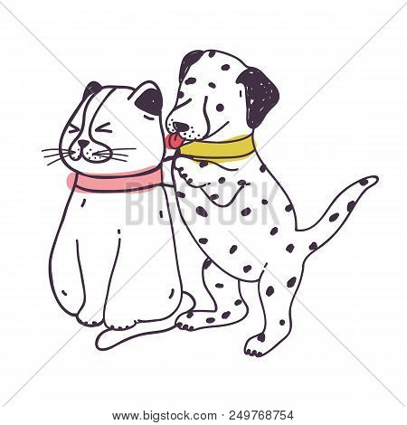 Amusing Dog Annoying Cat. Playful Naughty Dalmatian Puppy Irritating And Bothering Kitten Isolated O