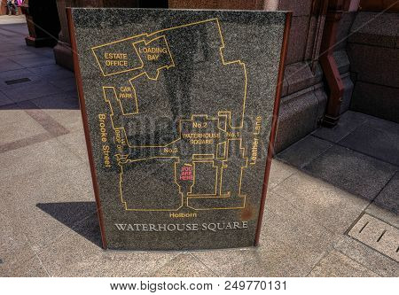 Holborn, London, Uk - June 8, 2018: Marble Stone Etched With The Details And Layout Of The Prudentia