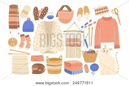 Collection Of Winter Knitted Clothes And Knitting Tools Isolated On White Background - Woolen Jumper