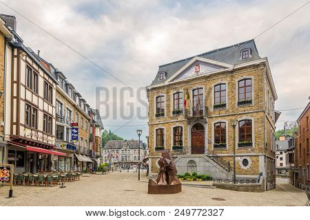 La Roche En Ardenne,belgium - May 16,2018 - View At The City Hall Of La Roche En Ardenne. La Roche-e