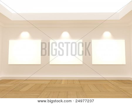 3 white blank frames in the empty room