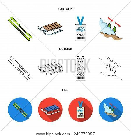 Ski, Sled, Lifeguard Badge, Badge Avalanche. Ski Resort Set Collection Icons In Cartoon, Outline, Fl