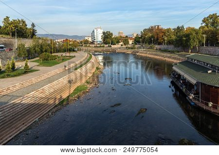 Nis, Serbia- October 21, 2017: Panoramic View Of City Of Nis And Nisava River, Serbia