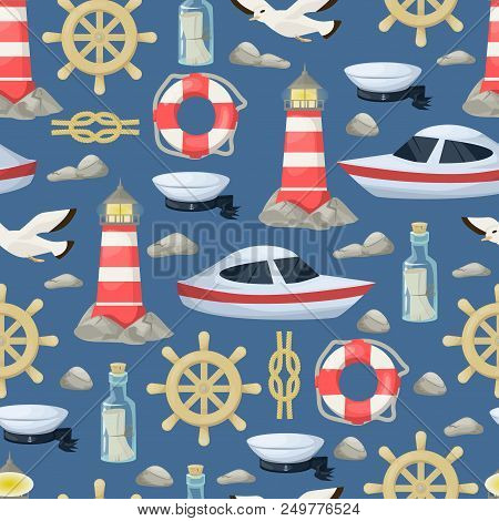 Nautical Navy Boats, Anchor, Wheel Marine And Ocean Seamless Pattern Background For Baby Showers, Bi
