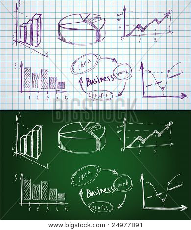 Set of the business  symbols drawn by a chalk on a blackboard and a pen on paper sheet.