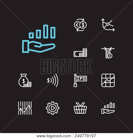Finance Trading Icons Set. Yield And Finance Trading Icons With Limit Order, Execution And Stock Mar