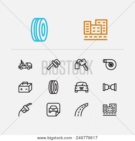 Car Icons Set. Safe Travel And Car Icons With Car Logo, Car Badge And Car Rent. Set Of Mechanical Fo